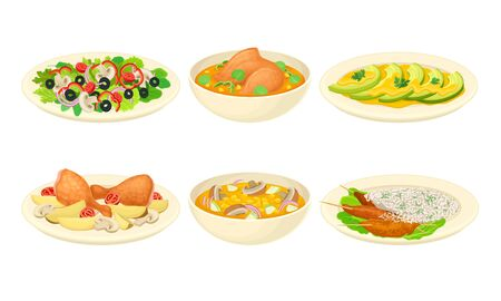 Dishes with Meat and Vegetables Served on Plate Vector Set