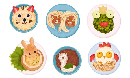 Breakfast Plating with Food Arranged in Childish Animal Shapes Vector Set