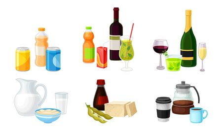 Different Drinks in Bottles and Cans with Sparkling Water and Wine Vector Set