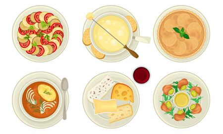 French Starters and Main Courses with Ratatouille and Escargot Dish Vector Set