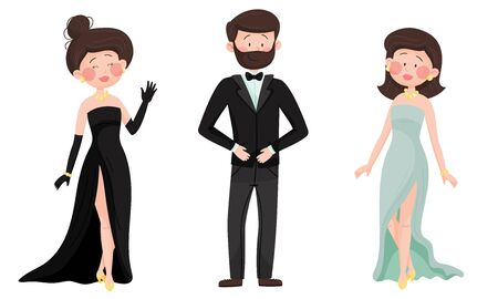 Man and Woman Characters Dressed in Elegant Attire at Social Evening or Red Carpet Reception Vector Illustrations Set Vektorové ilustrace