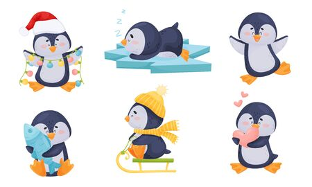 Cute Penguin Sleeping on Ice Plate and Holding Fish Vector Set