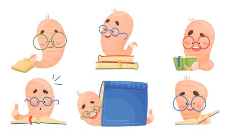 Funny Worm Wearing Glasses Sitting on Books and Reading Vector Set 일러스트