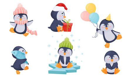 Cute Penguin Sitting on Ice Plate and Carrying Fish Vector Set