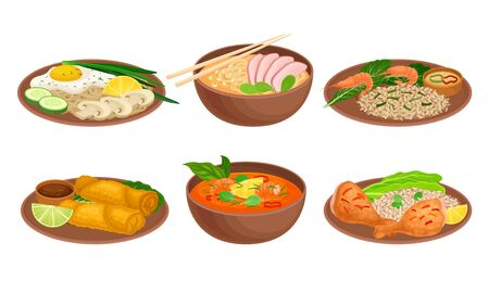 Various Dishes and Main Courses Plating with Greenery Garnishing Vector Set  イラスト・ベクター素材