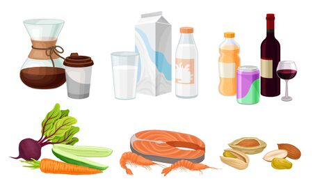 Food and Drink Arrangement with Coffee and Seafood Vector Set Vektorové ilustrace