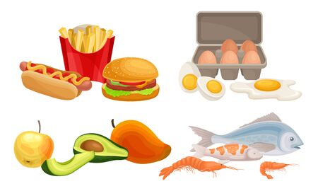 Food Compositions with Fruits and Fast Food Vector Set Vectores