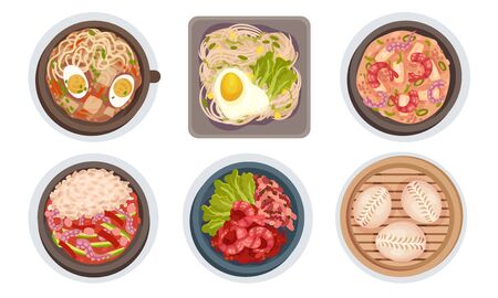 Asian Food with Noodle Soup and Seafood Dishes Served on Plate Top View Vector Set