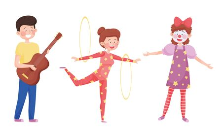 Young Street Performers with Girl Juggling with Hoola Hoop and Boy Playing Guitar Vector Set Illustration