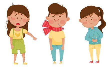 Sick Children Standing and Feeling Unwell Vector Illustrations Set Vector Illustration