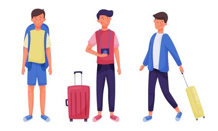 Man Tourists with Luggage or Travelling Trunk Making a Trip Vector Illustrations Set