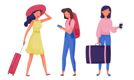 Girl Tourists with Luggage Bag and Backpack Travelling Vector Illustrations Set