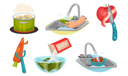 Vegetables Cooking with Water Steeping and Peeling Process Vector Set