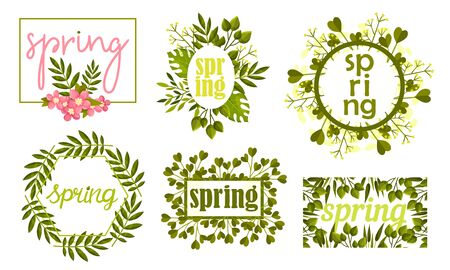 Rectangular and Circular Frames and Borders with Green Twigs and Pink Flowers Vector Set