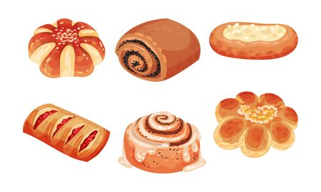 Flour Confectionery or Pastry with Sweet Wheat Bun and Baked Roll with Jam and Curd Vector Set 向量圖像
