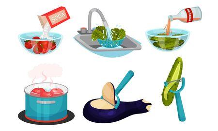 Vegetables Cooking with Water Steeping and Peeling Process Vector Set Ilustración de vector