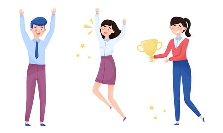 People Characters Standing and Cheering About Victory Vector Illustrations Set 向量圖像