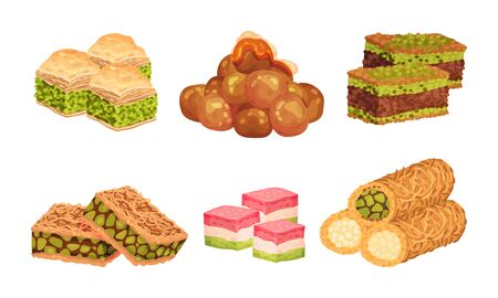 Turkish Delights or Arabic Sweets with Famous Baklava and Rahat Lakoum Vector Set