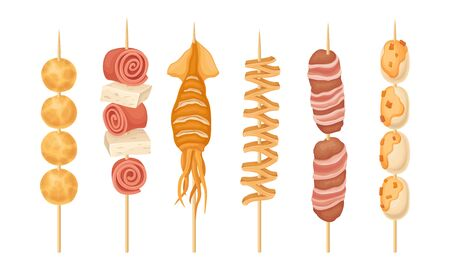 Skewered Street Seafood and Meat with Squid Hot and Spicy Snacks Vector Set