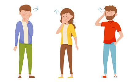 People Characters Standing with Thoughtful Expression on Their Faces and Question Marks Vector Illustrations Set