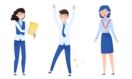 Young Woman Holding Winner Certificate and Man Raising His Hands Up with Joy Vector Illustrations Set 版權商用圖片 - 147878104