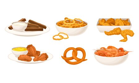 Bowls of Shrimps and Roasted Chicken Wings Vector Set
