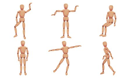 Wooden Mannequin with Joints in Different Poses Isolated on White Background Vector Set Vecteurs