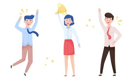 People Characters Standing and Cheering About Victory Vector Illustrations Set Vectores
