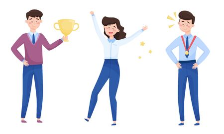 Young Man Holding Golden Cup as Prize and Woman Raising Her Hands Up with Joy Vector Illustrations Set 版權商用圖片 - 147884773