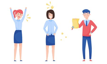 Young Man Holding Winner Certificate and Woman Raising Her Hands Up with Joy Vector Illustrations Set Vectores