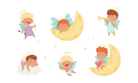 Cute Baby Angels with Nimbus and Wings Vector Set Stok Fotoğraf - 148150787