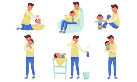 Young Father Changing Diaper, Bathing and Playing with His Little Baby Vector Illustration Set Vettoriali