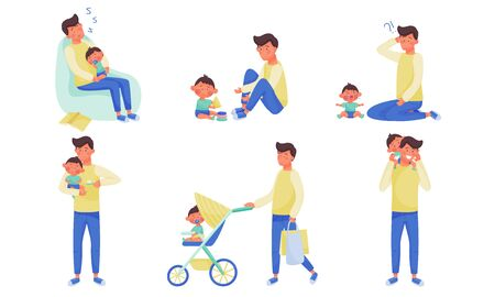 Young Father Feeding Walking and Playing with His Little Baby Vector Illustration Set
