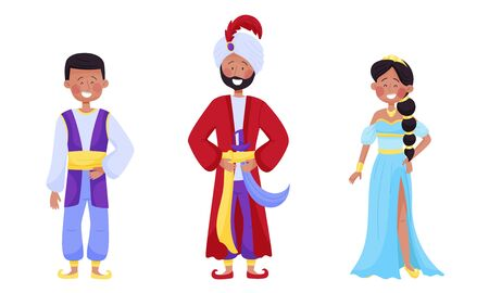People Characters Wearing Arabic Clothing with Woman in East Apparel and Young Sheik with Mandil on His Head Vector Set Vectores