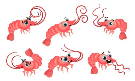 Cute Pink Shrimp with Big Eyes and Long Antennae Vector Set. Funny Marine Animal in Different Poses
