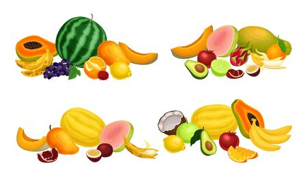Exotic Fruits Composition with Melon and Papaya Vector Set. Ripe and Juicy Tropical Sweet Food Concept