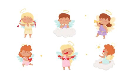 Cute Baby Angels with Nimbus and Wings Vector Set