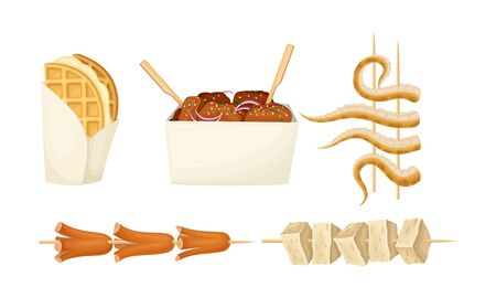 Skewered Street Seafood and Meat with Octopus Hot and Spicy Snacks Vector Set