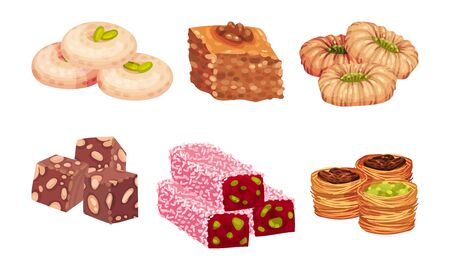 Turkish Delights or Arabic Sweets with Famous Baklava and Rahat Lakoum Vector Set. Oriental Pastry and Sugary Confectionery Concept