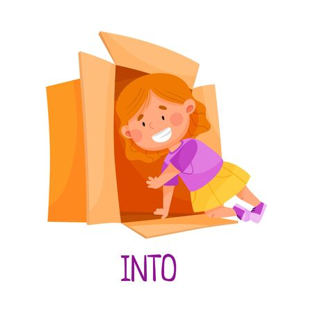 Little Red Haired Girl Creeping Into Carton Box as Preposition of Movement Vector Illustration