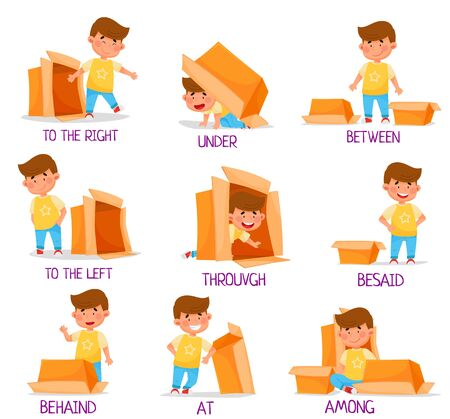 Little Boy and Carton Box as Prepositions of Place Demonstration Vector Set