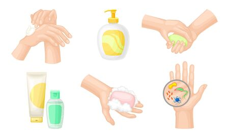 Hand Washing and Cleansing Using Bar of Soap and Soap Dispenser Vector Illustrations Set