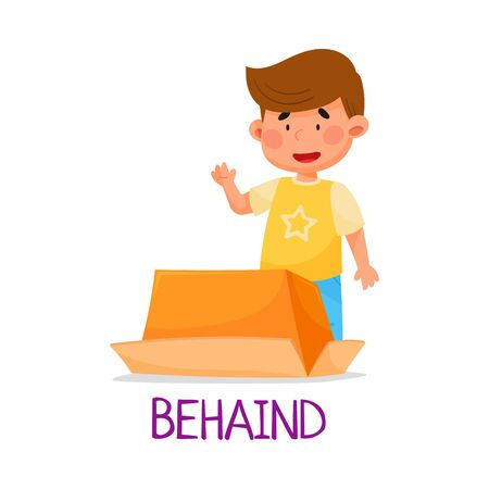 Cheerful Boy Standing Behind Carton Box as Preposition of Place Vector Illustration Vettoriali
