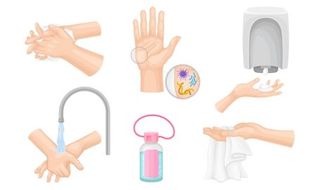 Hands Washing and Cleansing Using Soap Dispenser and Antibacterial Wet Wipes Vector Illustrations Set. Hand Hygiene and Bacterial Purification Concept Vektorgrafik