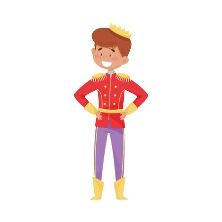 Smiling Little Prince with Golden Crown Wearing Carnival Suit Vector Illustration