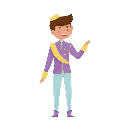 Dark Haired Prince with Golden Crown Wearing Carnival Suit and Waving Hand Vector Illustration