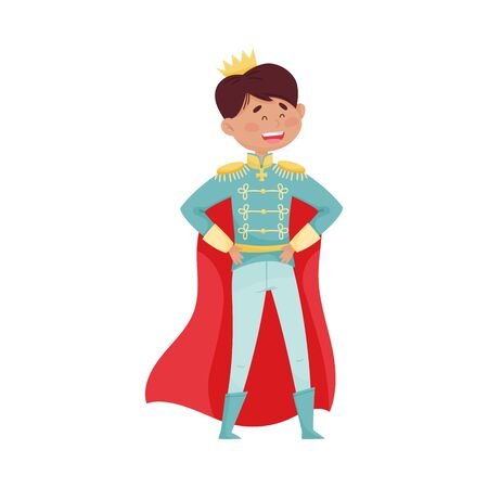 Dark Haired Prince with Golden Crown Wearing Cloak Vector Illustration 向量圖像