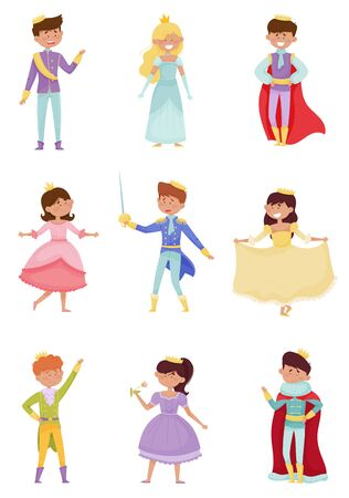 Funny Little Princes and Princesses Wearing Crown and Dressy Look Garments Vector Illustrations Set. Young Kings and Queens Dressed for Royal Ball or Carnival Concept