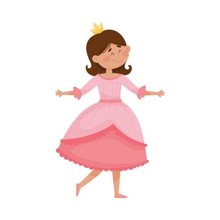 Little Princess with Black Hair Wearing Crown and Dressy Look Garment Vector Illustration. Young Pretty Queen Dressed for Royal Ball or Carnival Concept