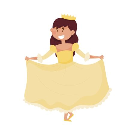 Little Princess with Dark Hair Wearing Crown and Dressy Look Garment Vector Illustration. Young Pretty Queen Dressed for Royal Ball or Carnival Concept